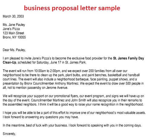 Sample Business Proposal  Template Business