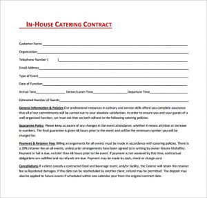 sample catering contract in house catering contract free download in pdf