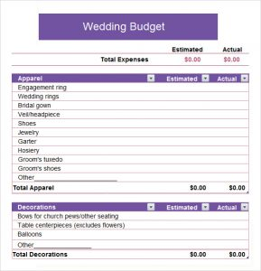 sample church budget wedding budget spreadsheet template
