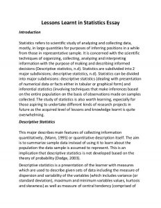 sample college application lessons learnt in statistics essay
