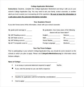 sample college applications college application worksheet word document free download
