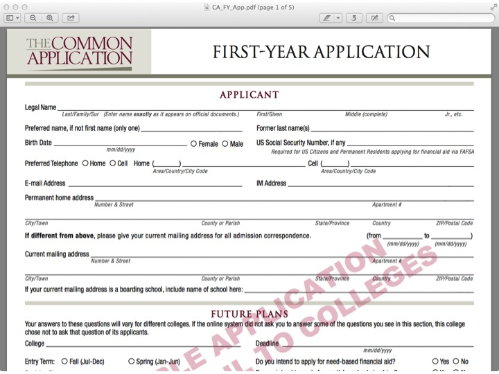 Sample College Applications