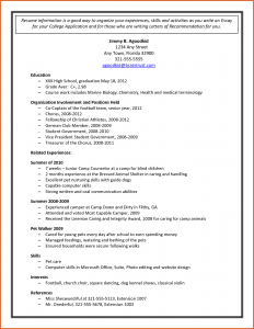Sample College Applications Sample College Application Sample Resume For  College Application
