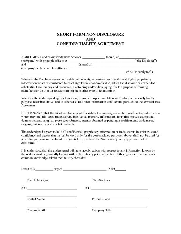 Sample Confidentiality Agreement  Template Business
