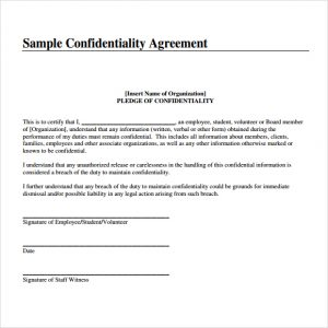 sample confidentiality agreement confidentiality agreement image