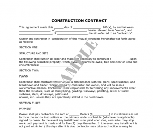 sample construction contract construction contract sample