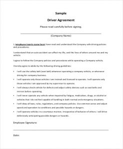 sample contract agreement company driver contract agreement