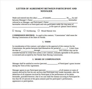 sample contract agreement letter of agreement template sample