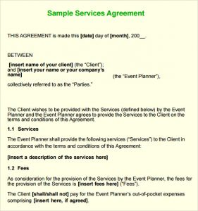sample contract for services service agreement contract template