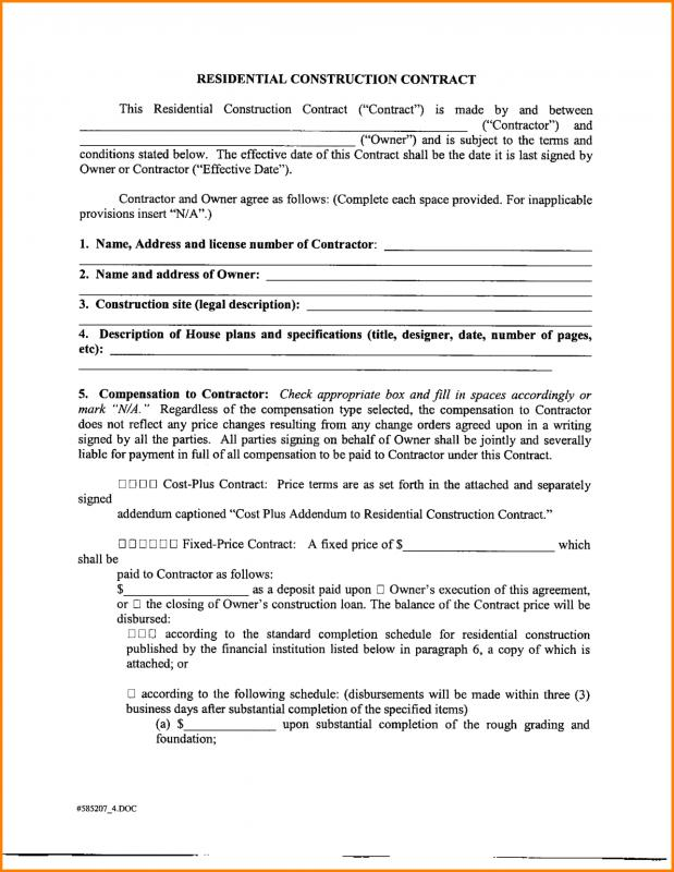 Sample Contractor Agreement Template Business