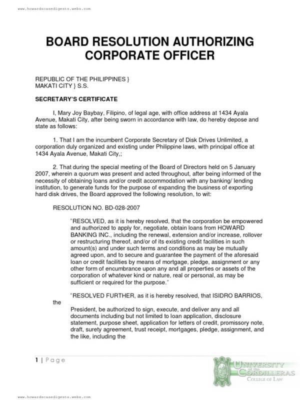 sample corporate resolution