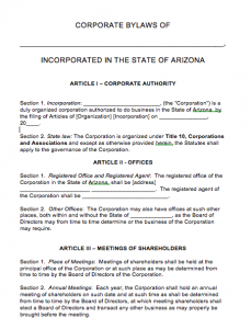 sample corporate resolution arizona corporate bylaws