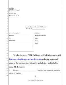 sample custody agreement sample trial brief for california divorce