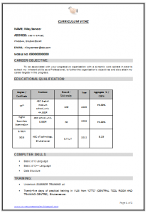 sample cv template be tech ece resume ()