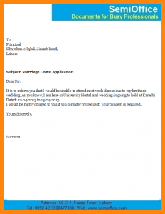 sample cv template leave application for marriage wedding leave application format free download