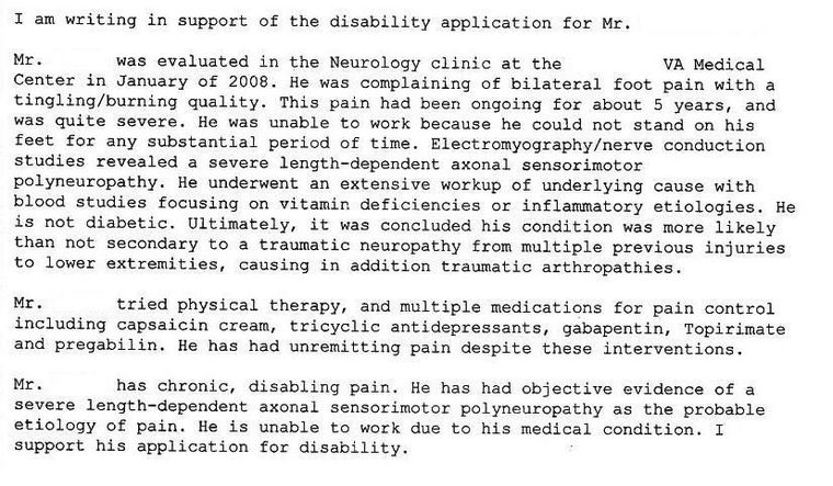 sample disability letter from doctor