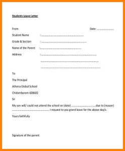 sample divorce paper sick leave letter format