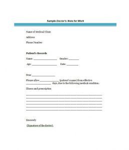 sample doctors note bonus doctor notes template