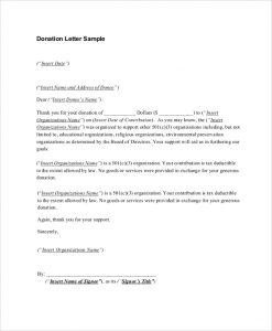 sample donation letter sample donation receipt letter