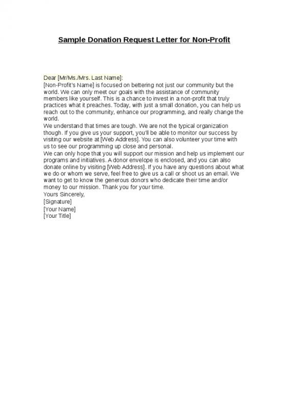 Sample Donation Request Letter From Non Profit
