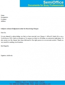 sample donation request letter to a company acknowledgment letter for receiving payment cheque x