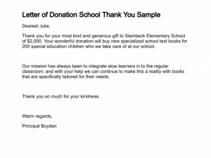 sample donation thank you letter letter of donation school thank you sample