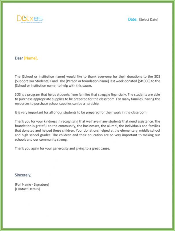 Sample Donation Thank You Letter Template Business