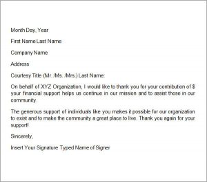 sample donation thank you letter thank you letter for donation