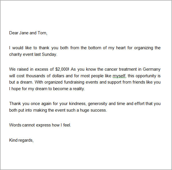 sample donation thank you letter