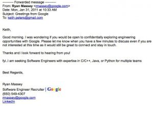 sample email to recruiter recruiters email