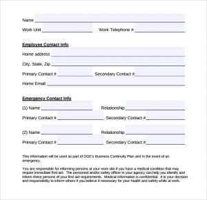 sample emergency action plan simple emergency contact form