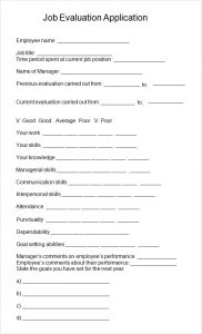 sample employee evaluation job evaluation template format download