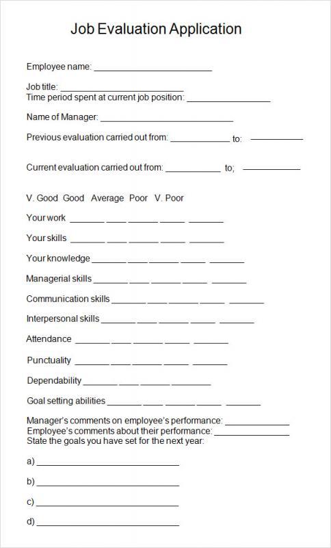 Sample Performance Evaluation | Sample Employee Evaluation Template Business