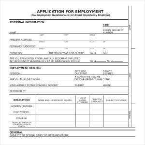 sample employment application application for employment form