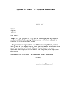 sample employment offer letter applicant not selected for employment sample letter