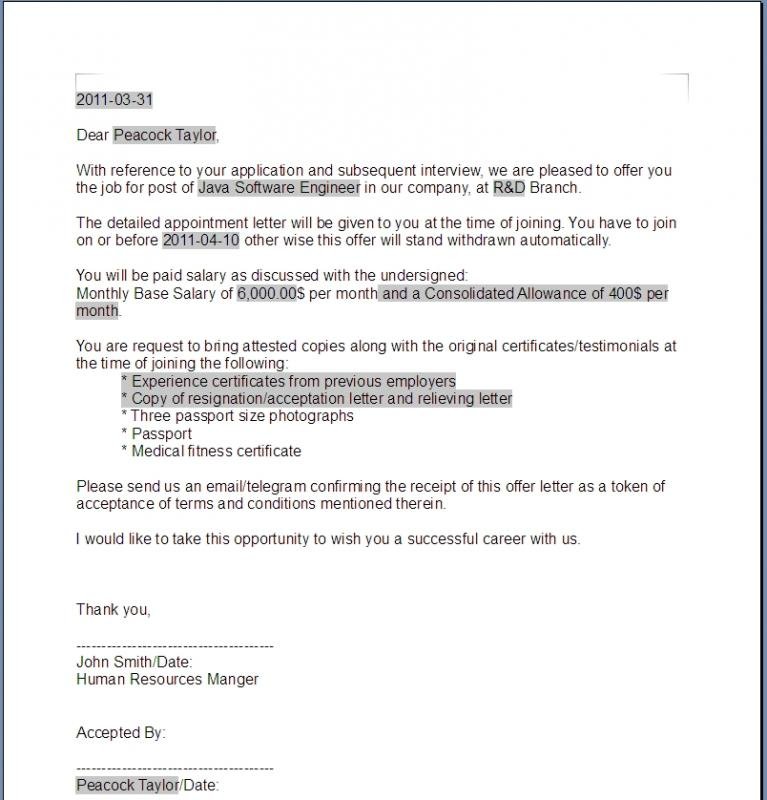 sample employment offer letter