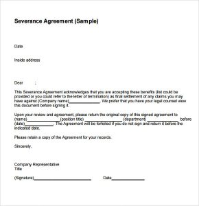 sample employment offer letter severance agreement sample
