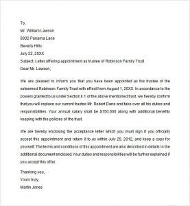 sample employment offer letter trustee appointment letter