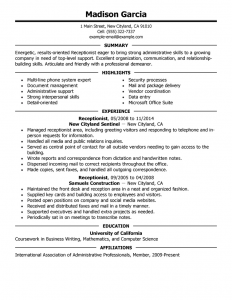 sample engineer resumes receptionist administration office support resume example executive highlights experience