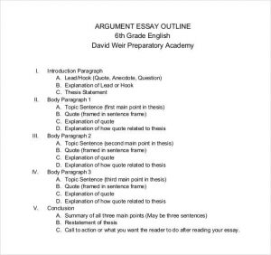 sample essay outline example of a argument essay outline