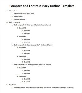 sample essay outline sample compare and contrast essay outline pdf download