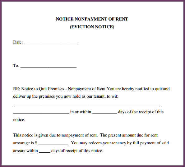 Sample Eviction Notice  Free Printable Eviction Notice Template