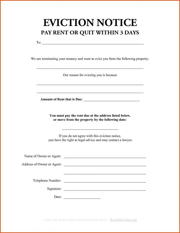 Sample Eviction Notice  Free Eviction Template