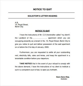 sample eviction notice for nonpayment of rent notice to quit template letter