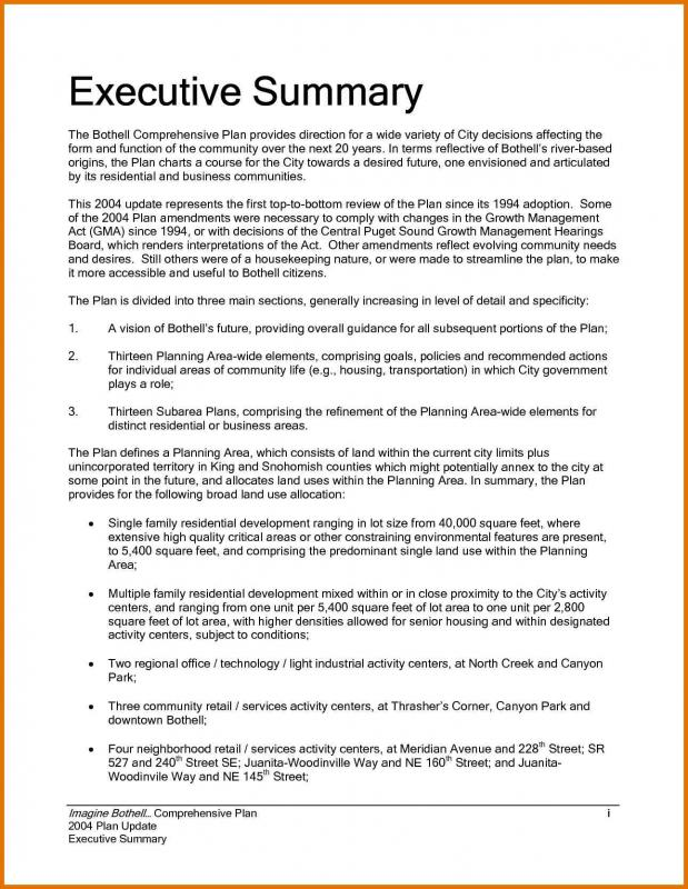 Sample Executive Summary  Executive Summary Template For Report