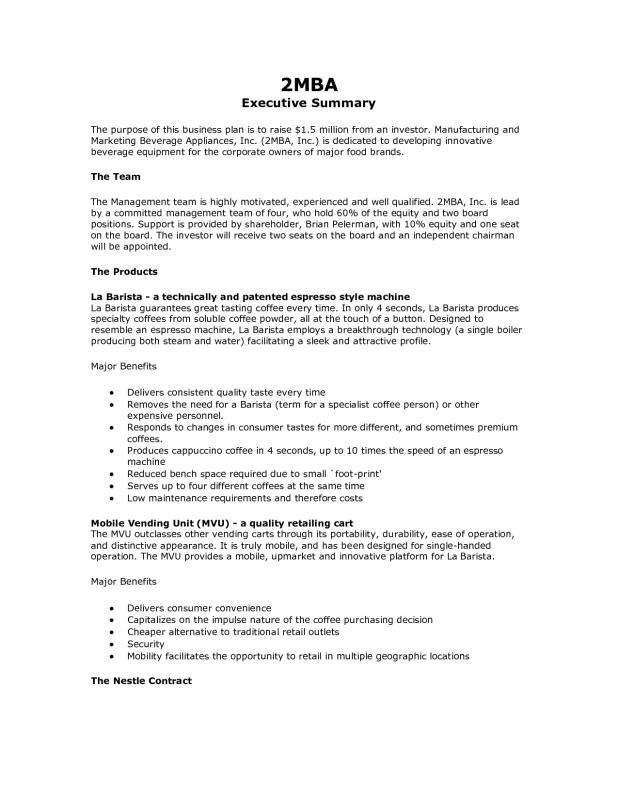 Example Executive Summary  Perfect Executive Summary Examples