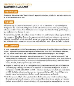 sample executive summary strategic plan executive summary sample