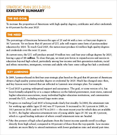 sample executive summary