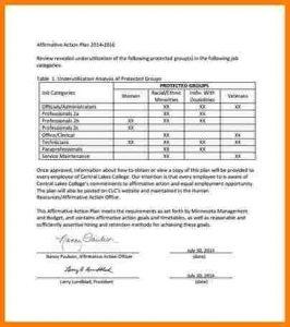 sample federal resume affirmative action plan template affirmative action plan sample