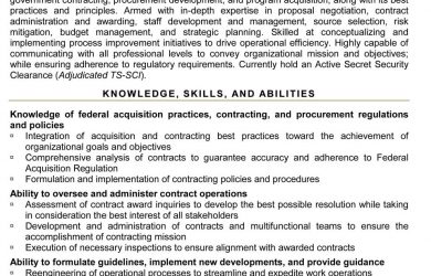 sample federal resume supervisory contract specialist
